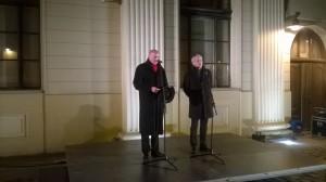 Prezydent Wrocławia Rafał Dutkiewicz i przewodniczący tamtejszej Gminy Wyznaniowej Żydowskiej Aleksander Gleichgewicht.