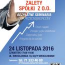Zalety Sp. z o.o. – bezpłatne seminarium w czwartek 24. listopada