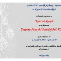 Koncert Kolęd w wykonaniu zespołu MOKOSZA w niedzielę 21 stycznia o godz. 17:00