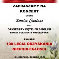 Koncert z okazji 100-tnej rocznicy odzyskania niepodległości 18 listopada o godz. 13:30